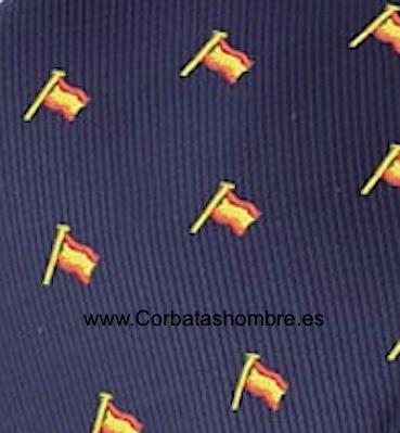 CORBATA CON BANDERAS DE ESPAÑA CON MÁSTIL SOBRE FONDO AZUL MARINO