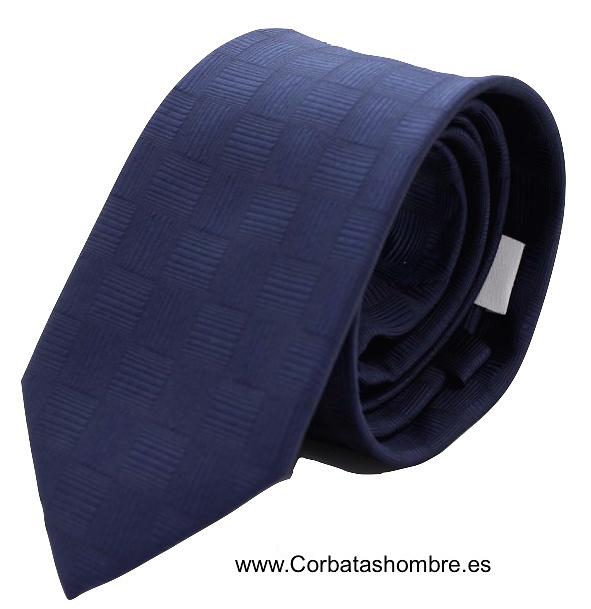 CORBATA AZUL MARINO CON TRAMA DE CUADRADOS