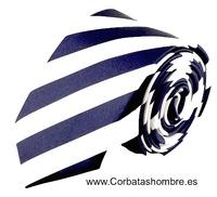 CORBATA ESTRECHA A RAYAS BLANCAS Y AZUL MARINO INTENSO