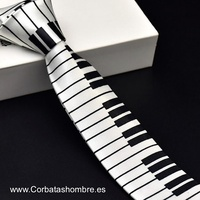CORBATA ESTRECHA TECLAS PIANO EN BLANCO Y NEGRO